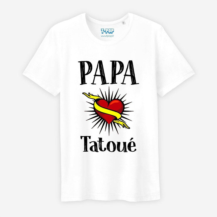 T-shirt Papa tatoué - Homme par T-Pop