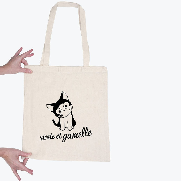 Tote bag Chat - Sieste et gamelle par T-Pop