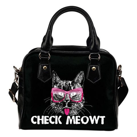 Check Meowt Shoulder Handbag - Stubborn Cat
