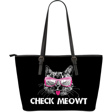 Check Meowt Large Leather Tote Bag - Stubborn Cat