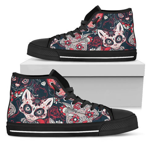 Pink Skull Cat High Top Shoes - Stubborn Cat