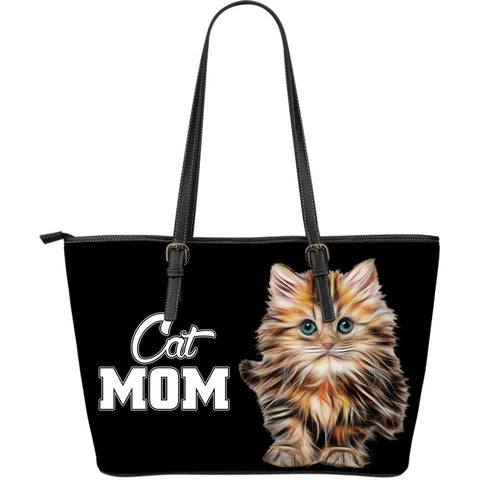 Cat Mom Large Leather Tote Bag - Stubborn Cat