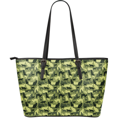Catouflage Large Leather Tote Bag - Stubborn Cat