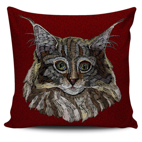 Colorful Maine Coon Cat Pillow Cover - Stubborn Cat
