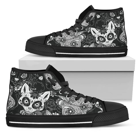 Black & White Skull Cat High Top Shoes - Stubborn Cat
