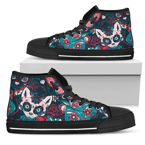 Blue Skull Cat High Top Shoes - Stubborn Cat