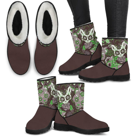 Brown & Lime Cat Skull Faux Fur Boots - Stubborn Cat