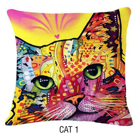 Colorful Handmade Cat Pillow Covers - Stubborn Cat