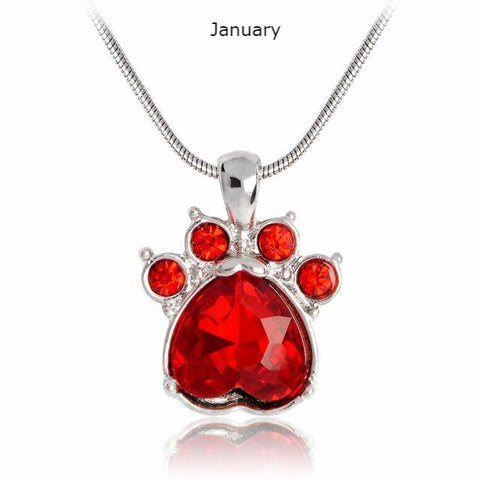 Birthstone Cat Paw Necklace - Stubborn Cat