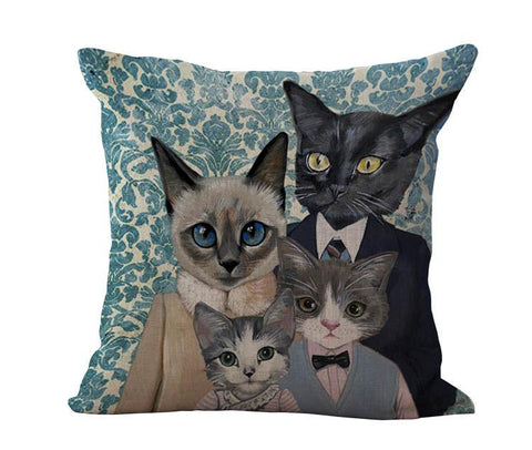 Linen Cartoon Cats Pillow Cushion Cover - Stubborn Cat