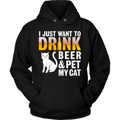 I Just Want To Drink Beer Cat Hoodie - Stubborn Cat