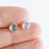 Labradorite stud earrings, minimalist dainty stud for everyday, sterling silver, 14k gold filled