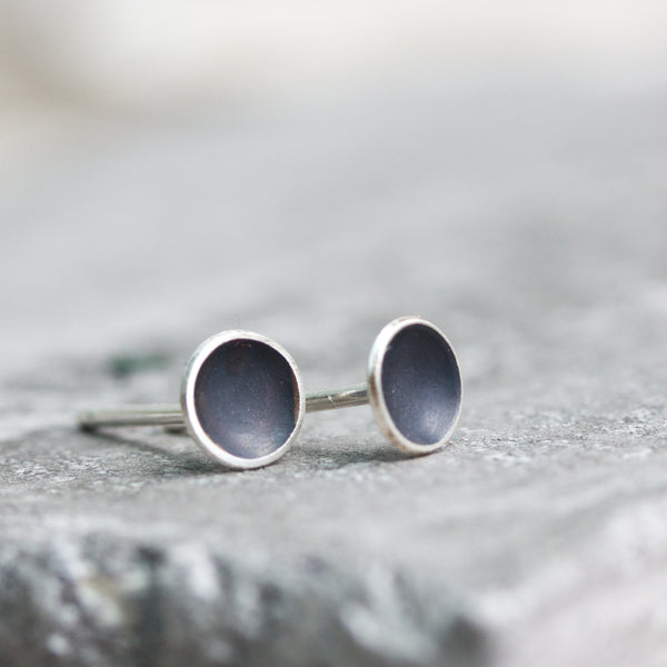 Black Сup studs, dish studs, oxidized sterling silver stud earrings, minimal, simple every day earrings