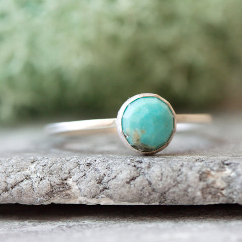 Turquoise - Simple silver ring with faceted natural turquoise 6mm