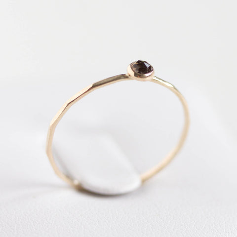 Smoky Quartz - stackable ring with 5mm gemstone, 9k gold