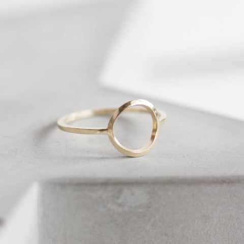Circle ring - 9k gold, minimalist, full circle ring, karma ring, midi ring