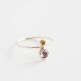 Two stones ring, mother daughter ring, dual birthstone ring, Mothers Day gift for mom, in 9k gold