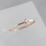 Rose gold Initial ring, tiny dainty stacking ring, 9K rose gold stackable ring