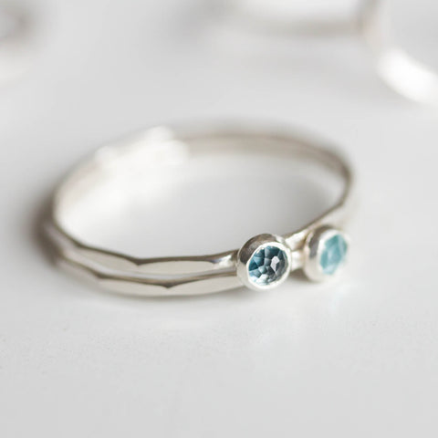 London Blue Topaz - skinny stackable ring with rose cut London Blue Topaz stone, December birthstone