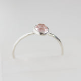 Rose Quartz - stackable ring with Rose Quartz gemstone, sterling silver or 9K gold