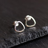 Sterling silver stud earrings - soft triangle, every day earrings