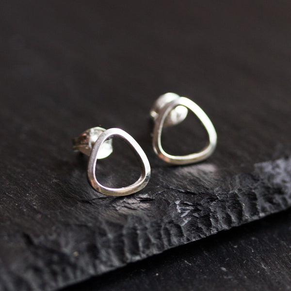 Sterling silver stud earrings - triangle, every day earrings