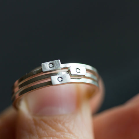 Initial ring with hand stamping - stackable sterling silver or gold ring