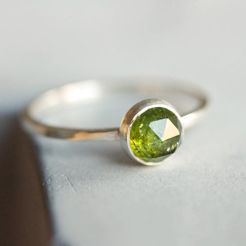Green Tourmaline ring - skinny stackable ring with Tourmaline stone, October birthstone