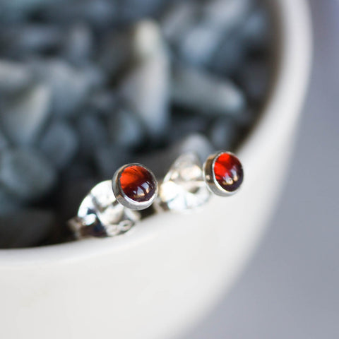 Almandine (red) Garnet stud earrings, minimalist dainty studs, January birthstone, sterling silver or 14k gold filled