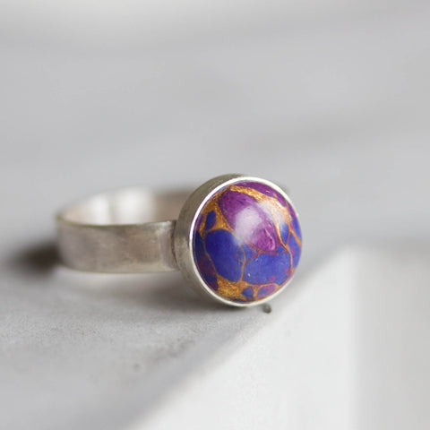 Purple - Sterling silver ring with purple turquoise cabochon