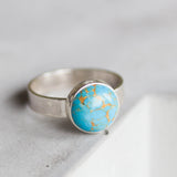 Blue - Sterling silver ring with blue turquoise, solitaire ring