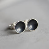Black Сup studs, dish studs, oxidized sterling silver stud earrings