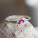 Ruby ring - skinny stackable ring with Ruby gemstone, July birthstone