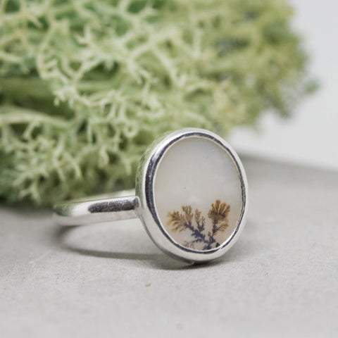 Dendritic agate ring, unique one of a kind ring, ooak