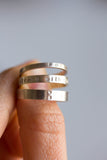 Silver band ring with stamped word, personalized, 2mm, 3mm or 4mm wide band