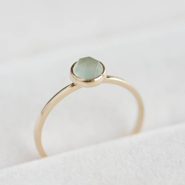 Aquamarine ring in 9k gold, March birthstone