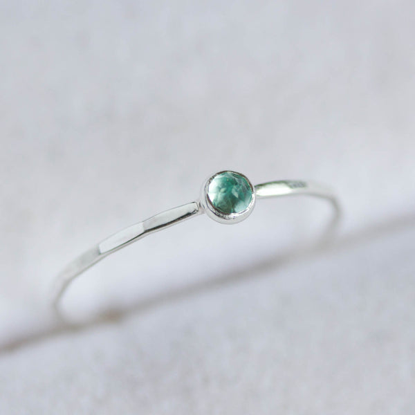 Apatite - skinny stackable ring with rose cut sky blue Apatite gemstone