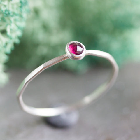 skinny silver stacking ring with Rhodolite Garnet faceted gemstone