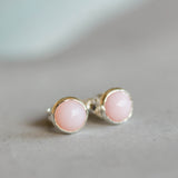 Pink Opal stud earrings, sterling silver or 14K gold filled, dainty earrings