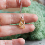 Raw Imperial Topaz necklace - golden topaz necklace, November birthstone necklace, sterling silver or 9k gold
