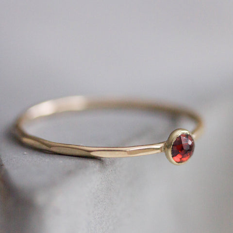 Red Garnet - skinny stackable ring with Almandine Garnet gemstone, January birthstone, 9k gold