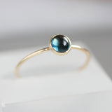 London Blue Topaz - skinny stackable ring with London Blue Topaz stone, in gold