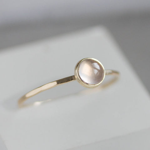 Rose Quartz - stackable ring with Rose Quartz gemstone, 9K gold