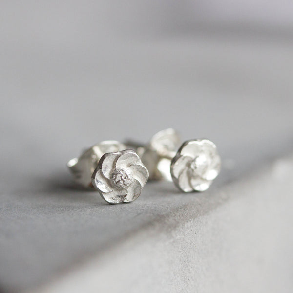 Tiny flower stud earrings - sterling silver, simple every day earrings