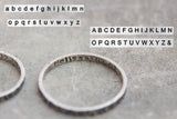 Silver ring band with hammered texture and personalized stamping on the inside, 2mm or 4mm band