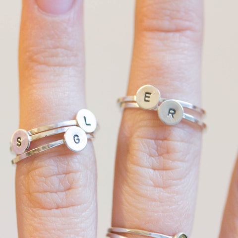 Initial ring with hand stamped capital letter - sterling silver, stackable