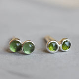 Green Tourmaline stud earrings, moss green studs, sterling silver or 14k gold filled, October Birthstone