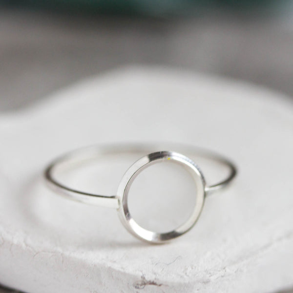 Circle ring - sterling silver, minimalist, full circle ring, karma ring, midi ring