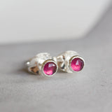 Rhodolite (pink) Garnet stud earrings, tiny studs, sterling silver or 14k gold filled, January birthstone