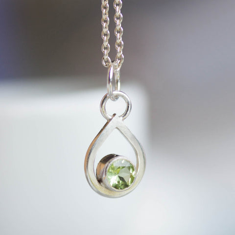 Peridot necklace - drop shaped charm necklace with faceted Peridot, sterling silver or gold